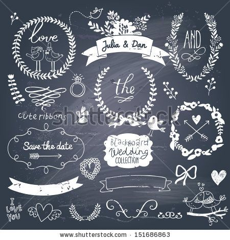 Wedding romantic collection with labels, ribbons, hearts, flowers, arrows, wreaths, laurel and birds. Graphic vintage set on chalkboard back...