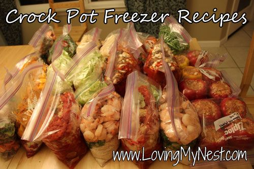 "Crock Pot Freezer Meals (didn't see any ""Cream of Nasty: soups!): Chunky Chili With Veggies Jambalaya; Chicken Curry with Cabbage and Pepper; Stuffed Bell Peppers; Sauerkraut and Kielbasa; Beef Stew; Pumpkin and Butternut Stew; No potato Beef Stew; Sweet Potato Shepherd's Pie"