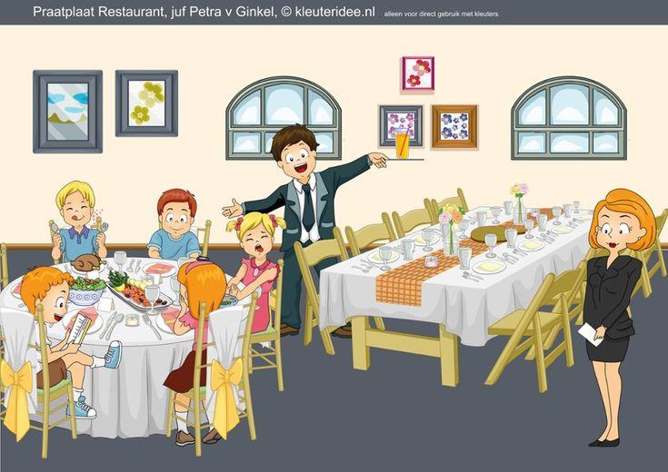 Praatplaat, thema restaurant voor kleuters, by juf Petra van Ginkel van kleuteridee