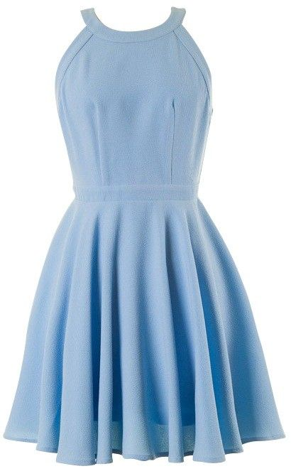 LIGHT BLUE HALTER OPEN BACK SKATER DRESS #ustrendy www.ustrendy.com
