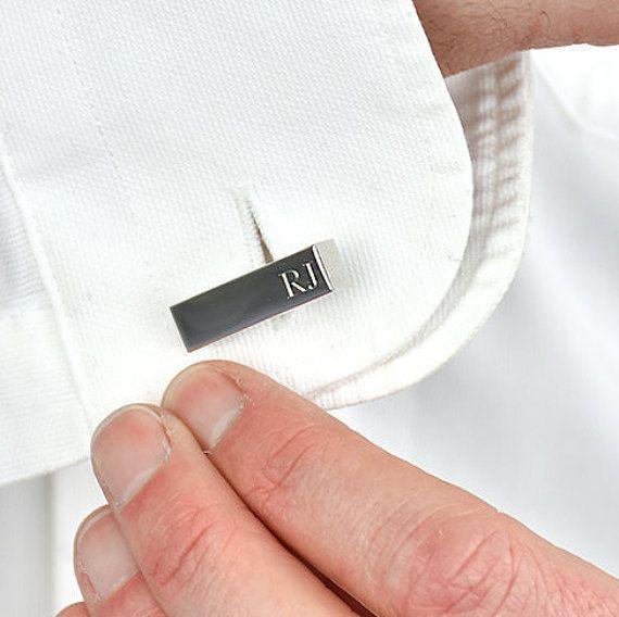 Personalised Silver Inital Bar Cufflinks - Gift For Dad - Personalized Cufflinks - Wedding Cufflinks - Gift For Grandad [ECUFF-001-S]