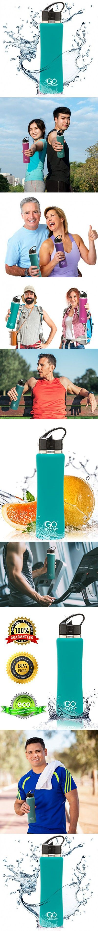 Stainless Steel Insulated Water Bottle with flip straw and sweat-proof rubber grip. H2O Sports drinking bottle is BPA Free, Eco Friendly, Good for Kids, and keeps ice over 24 hours