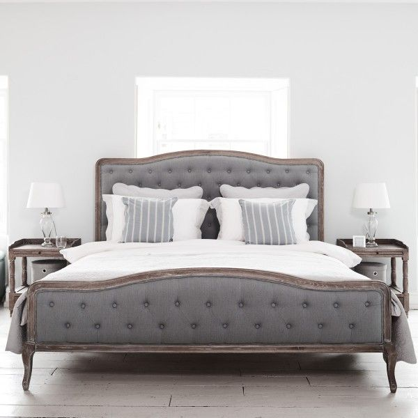 Chantal Grey Linen Bed Oak
