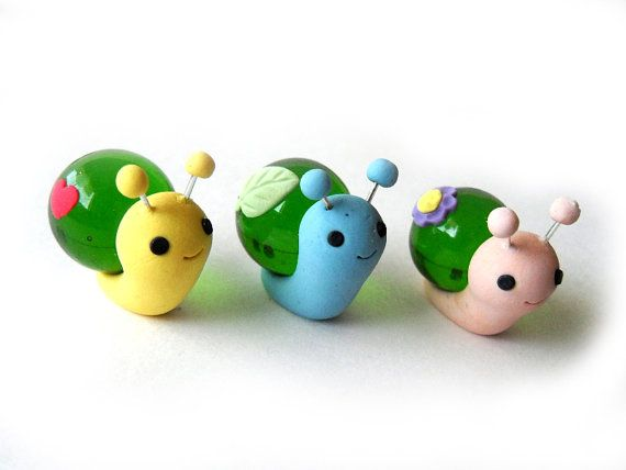 Adorable Polymer Clay Glass Figure Snails by JujubisWorkshop