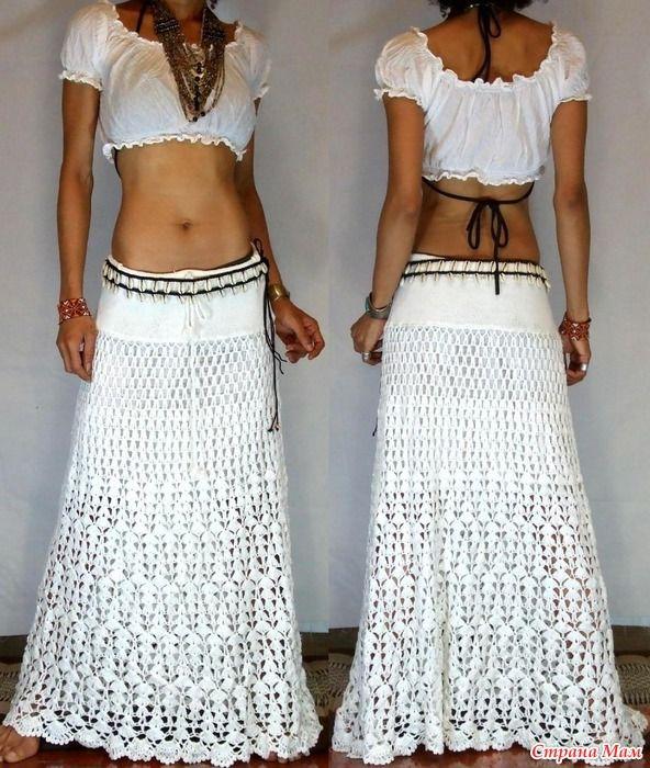Длинная белая юбка - Вязание - Страна Мам