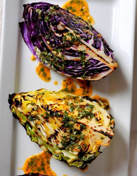 GRILLED CABBAGE WEDGE with SPICY LIME DRESSING -I'd skip the sugar and use coconut oil, sounds yummy