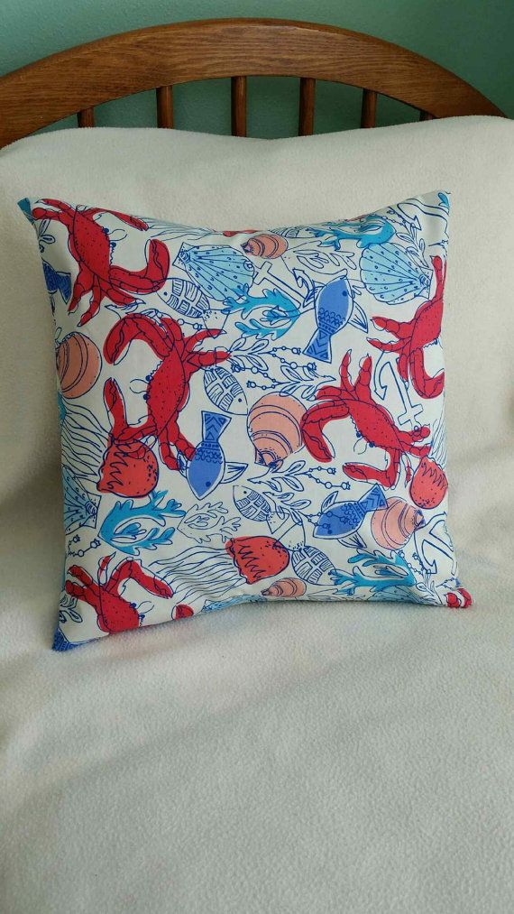 Crab Fest Pillow Cover  Summer  Swappillow by KathyRyanDesigns