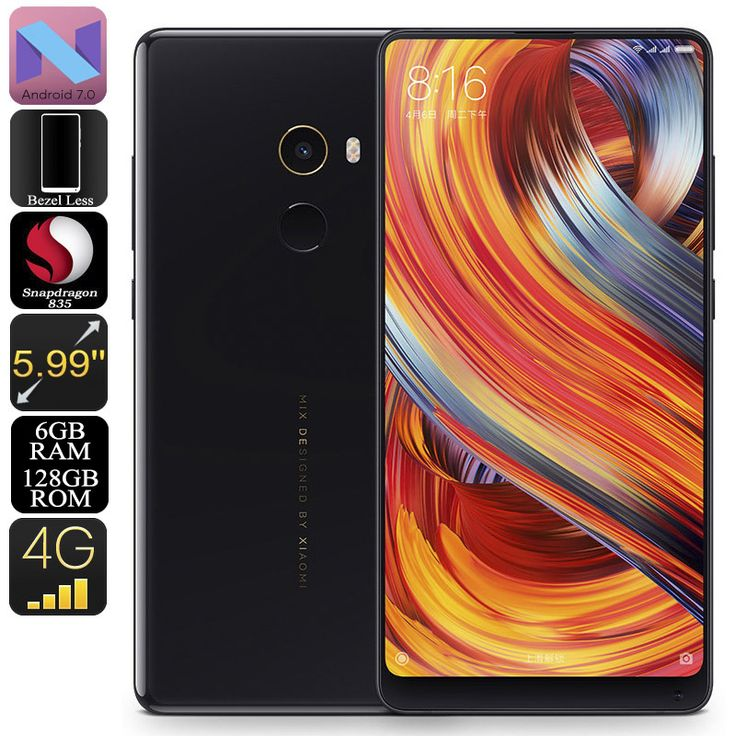 Xiaomi Mi Mix 2 Android Phone - 128GB Memory, Snapdragon CPU, 6GB RAM, ANdroid 7.1, 5.99 Inch Screen, 4G, Dual SIM, NFC - The Mi Mix 2 128GB Android Phone brings the best features and performance from world-renowned Chinese phone manufacturer Xiaomi