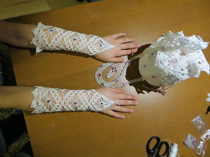 Holy Communion bag and gloves crochet / beads