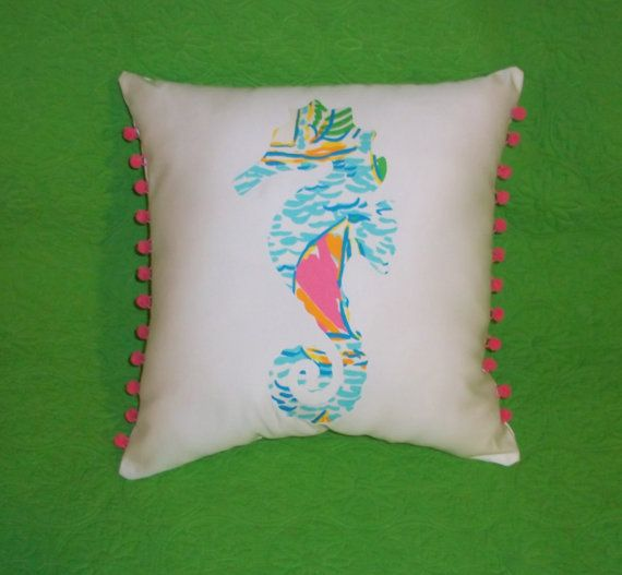 New custom Made To Order Seahorse Pillow made with Lilly ...