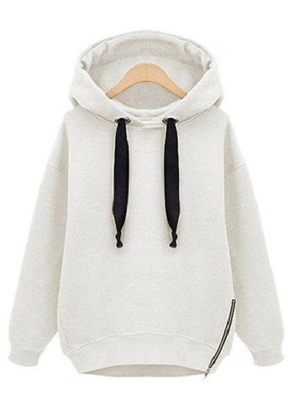 White Hooded Long Sleeve Drawstring Loose Sweatshirt - Sheinside.com