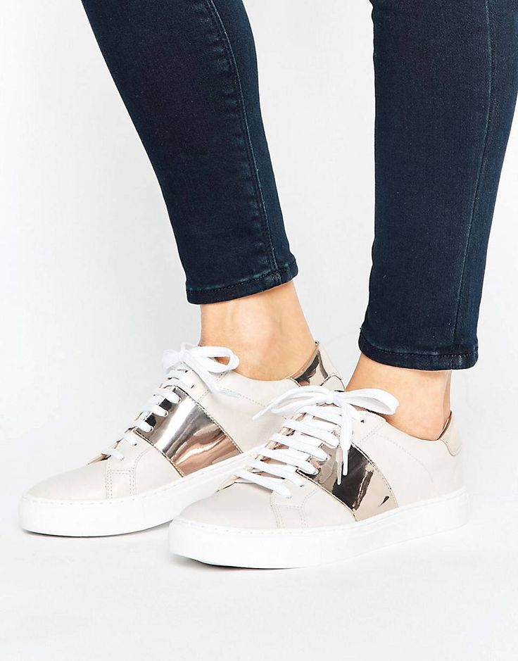 Shop Oasis Leather Metallic Panel Sneakers at ASOS.