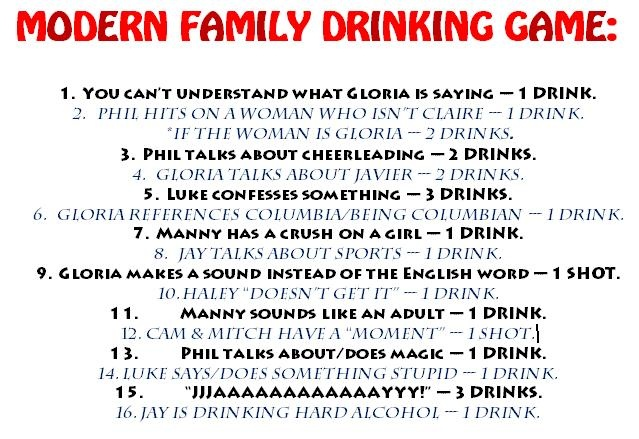 Modern Family drinking game | Friday Nights are going to be awesome now @Tony Garcia