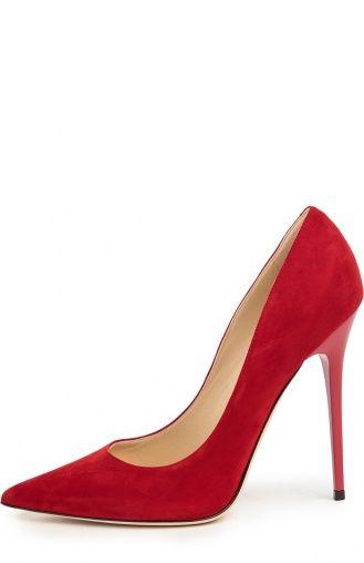 Женские красные замшевые туфли anouk на шпильке Jimmy Choo, сезон SS 2016, арт…