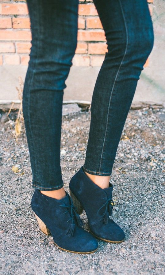 Lace-up blue suede booties with fun tassels