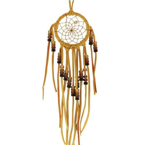 Beaded Dream Catcher made from tan leather with earth-tone glass beads threaded onto leather strips.