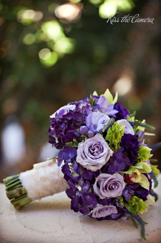 purple bouquet, so easy to pick flowers at Michael's or Hobby Lobby when on sale and make these for attendants and a bigger one for bride