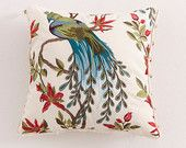 SALE DISCOUNTED ITEM . Beautiful Peacock .Embroidered Throw Pillow.Dazzling Colors.Decorative Pillow.Beaded Trim.Faux Fur Backing