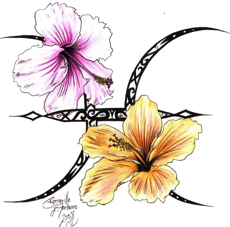 Pisces Zodiac Tattoo With Flowers Design