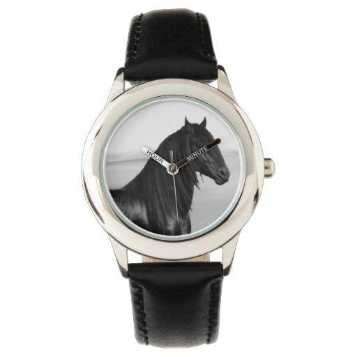 Black beauty stallion wrist watch