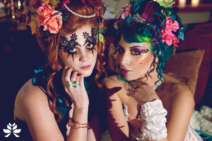 Makeup and hair that I did for a Rococo Punk inspired shoot. The hair is the models' own, not wigs. This image is the property of Grethe Rosseaux Photography and is being used here with her permission