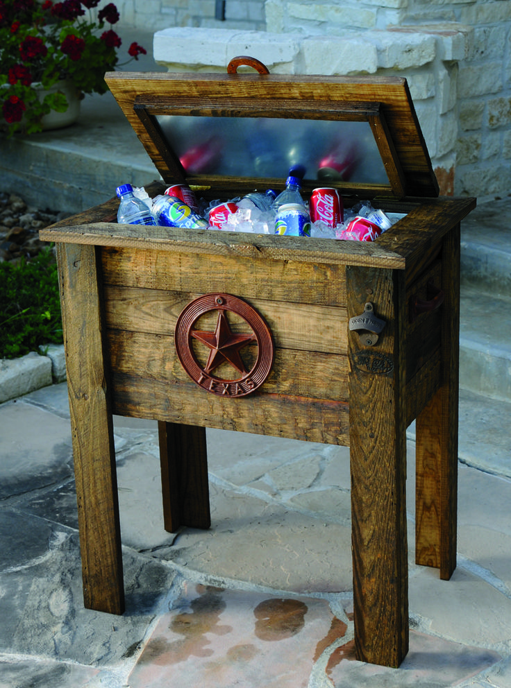 These Texas Rustic Wooden Patio Coolers Keep Your Drinks