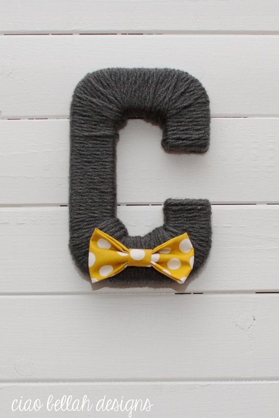 Yarn Wrapped Letters in Charcoal- Listing for single letters- Nursery Decor- Baby Shower Decor- ABCs Baby Gift- Name Gift- Dark Grey / Gray