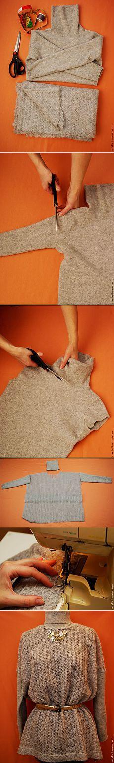 Переделка свитера в стильную вещицу | Сделай сам!