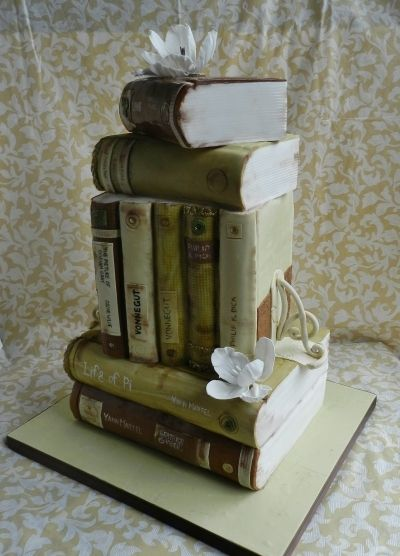 Bookish Wedding Cake - excellent design of antique books with sugar paste flowers