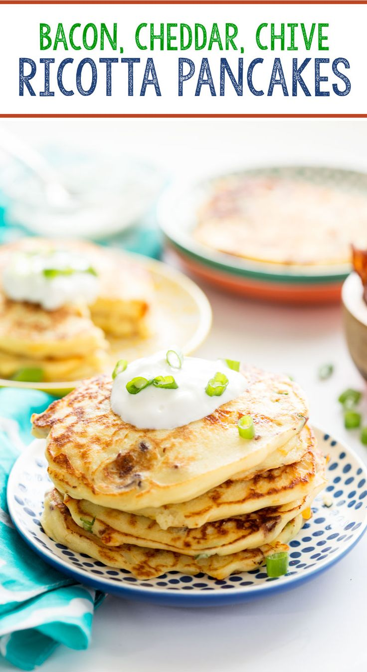 Savory bacon, cheese, and chive ricotta pancakes is perfect for breakfast or brinner!