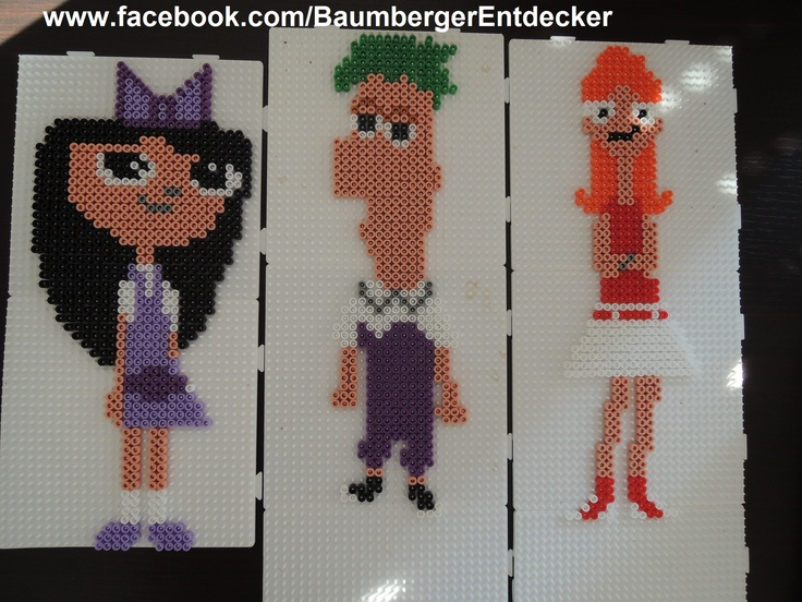 "Isabella, Ferb und Candace aus ""Phineas und Ferb""  Bügelperlen, Perler Beads www.facebook.com/BaumbergerEntdecker"