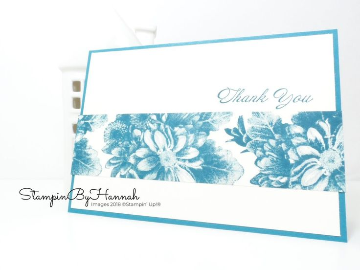 Island Indigo Thank You card using Heartfelt Blooms from Stampin' Up!