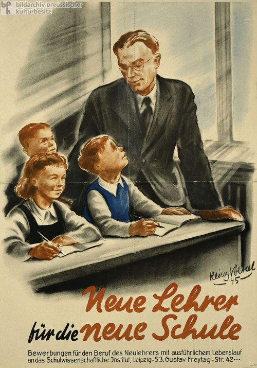 "I chose this picture because I found it crazy how they had to hire teachers that were not educated because of how many teachers they needed to get rid of after ""denazifying"" the schools in the Soviet occupation zones."