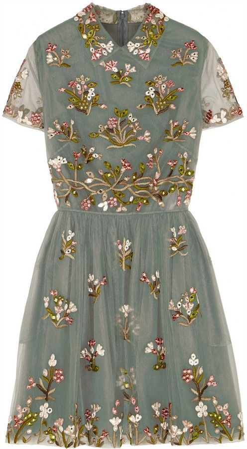 Valentino Embroidered Tulle Mini Dress