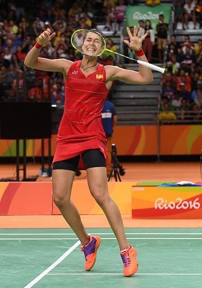 Spain's Carolina Marin reacts after winning against India's Pusarla V Sindhu…