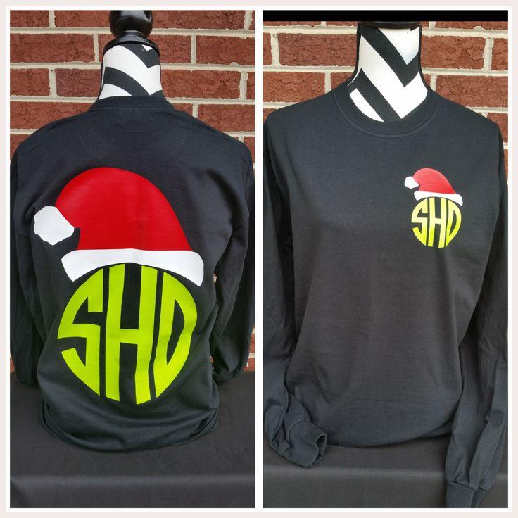 Monogrammed Santa Hat Long Sleeved Shirt. Christmas Shirt. Christmas Party Shirt. Tacky Christmas Party. Holiday Shirt. Monogrammed. by ElleQDesigns on Etsy https://www.etsy.com/listing/246727947/monogrammed-santa-hat-long-sleeved-shirt