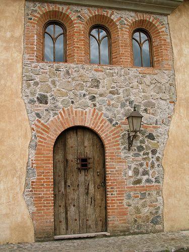 Mixed stone and brick
