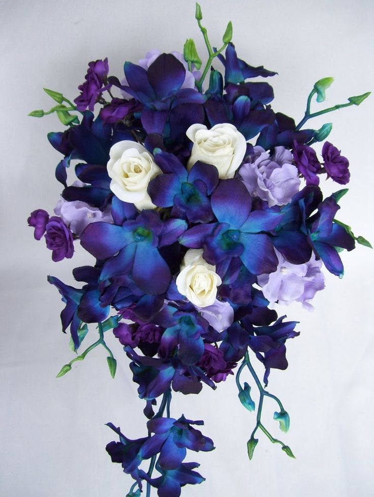 Noelle's Cascade Bridal Bouquet Purple Spray Roses White ...