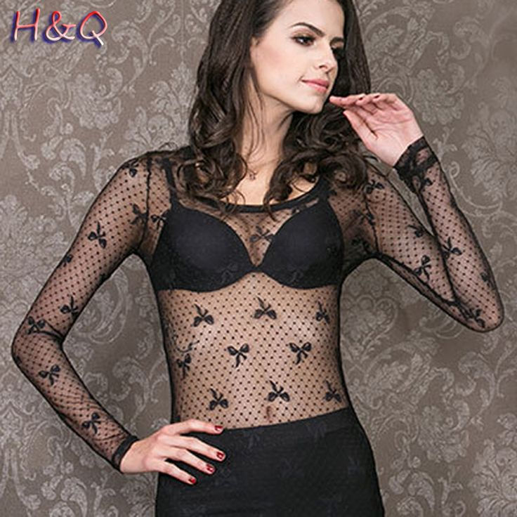 >> Click to Buy << HQ Women Super Sheer Mesh Tops Long Sleeve Sexy Tops Bowknot Print Patchwork T-shirts for Women Sexy Transparent Tops U1BNXH3121 #Affiliate