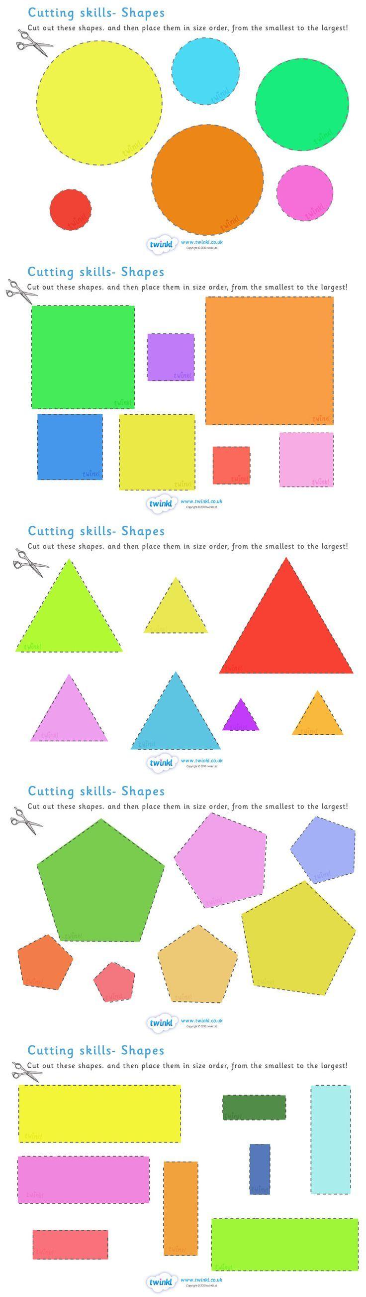 Forme, dimensioni e colori: fate tagliare le forme. Nominate ogni forma, chiedete quante cose conoscono con quella forma. Chiedete il nome dei colori della forma. Chiedete di mettere in serie le forme, dalla più piccola alla più grande e viceversa. Ecco come insegnare i concetti sovraordinati di forme, colori, dimensioni, unitamente allo sviluppo della motricità fine e all'operazione mentale della seriazione attraverso l'uso del confronto tra dati (sviluppo del comportamento comparativo).