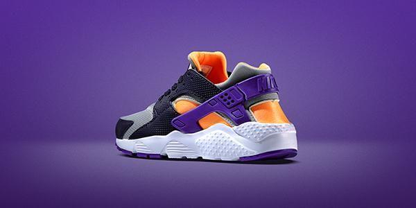 RESTOCK. Nike Air Huarache Junior Grey Orange http://thesolesupplier.co.uk/products/nike-air-huarache-junior-grey-orange/