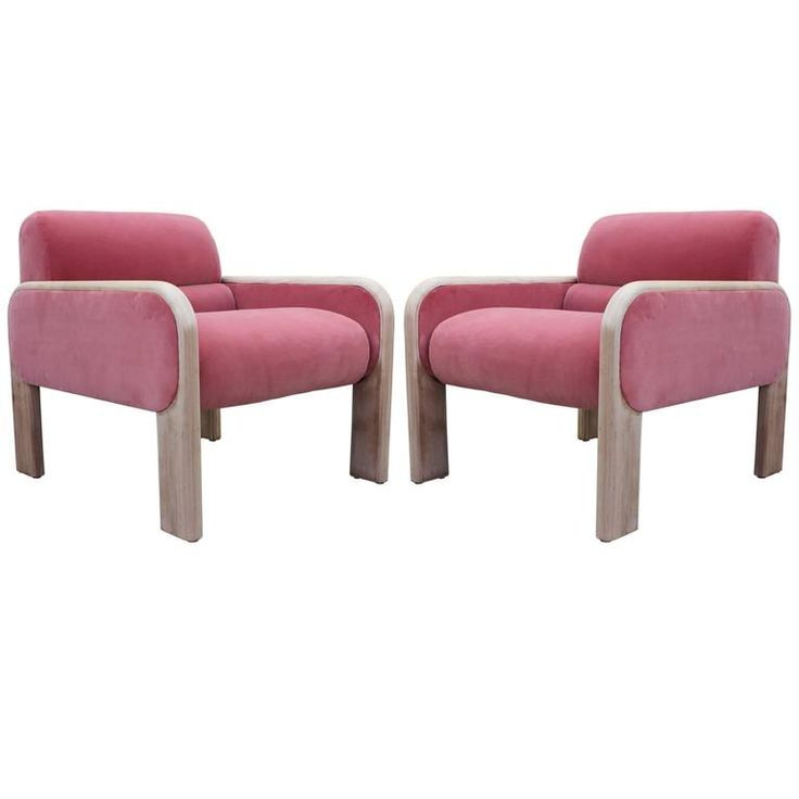 Fabulous Pair Of Stripped Mahogany Lounge Chairs In Pink Velvet