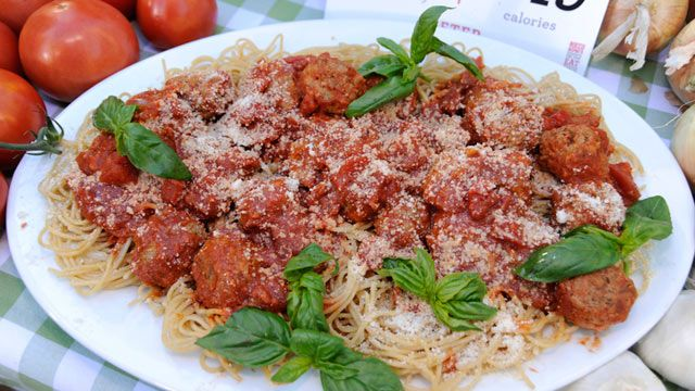 "Rocco DiSpirito's Lightened ""My Mama's Meatballs"" - 349 calories, 4.5 g fat"