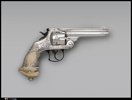 Smith and Wesson .44 Double-Action Revolver for George Jay Gould (1864–1923), serial no. 23402, with Case and Cleaning Brush Smith & Wesson (American, established 1852) Decorator: Tiffany & Co. (1837–present) Date: ca. 1889