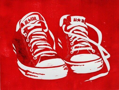 Linocut red converse