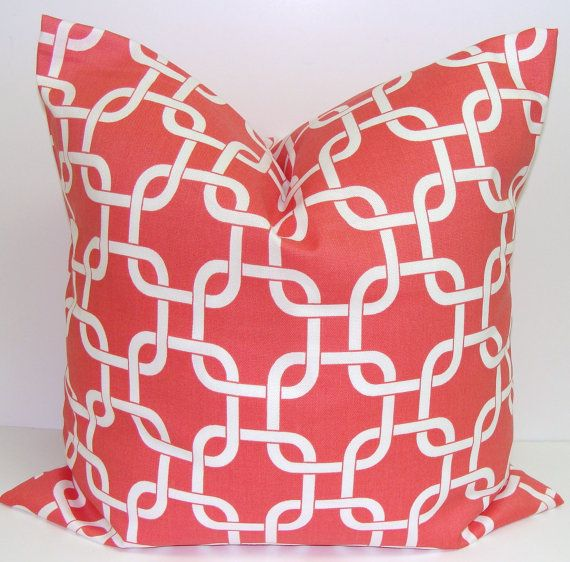 Coral Pillow SALE.16x16 inch.Chainlink Decorator Pillow Cover.Printed Fabric Front and Back.Housewares.Home Decor