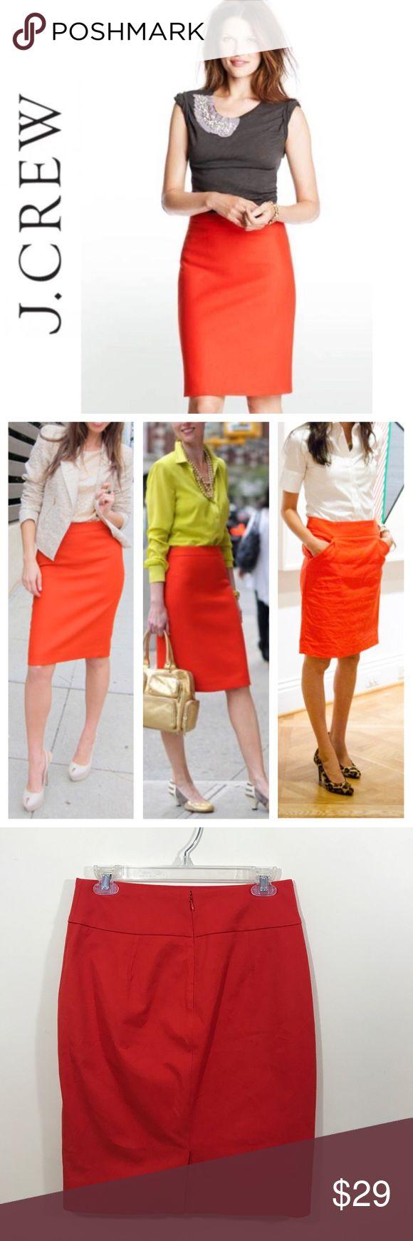 "J. Crew orange pencil skirt In EUC pencil skirt by J. Crew. Double lining. Zipper in back. Measurements: waist 14"" length 21.5"" J. Crew Skirts Pencil"