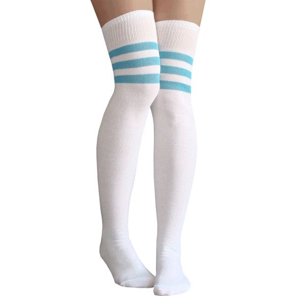 White/Light Blue Thigh Highs ❤ liked on Polyvore featuring intimates, hosiery, socks, striped, white over knee socks, stripe thigh high socks, overknee socks, athletic stripe socks and white striped socks
