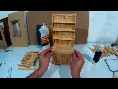 Mueble de cocina para mu ecas hecho con palitos parte 2 - Como hacer muebles de cocina ...