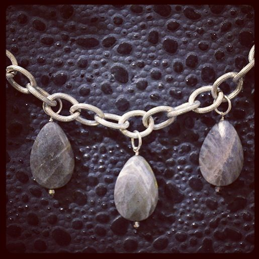 Smitten Designs labradorite stones with a bold base metal link chain. Available at Fine Finds Boutique in Vancouver.